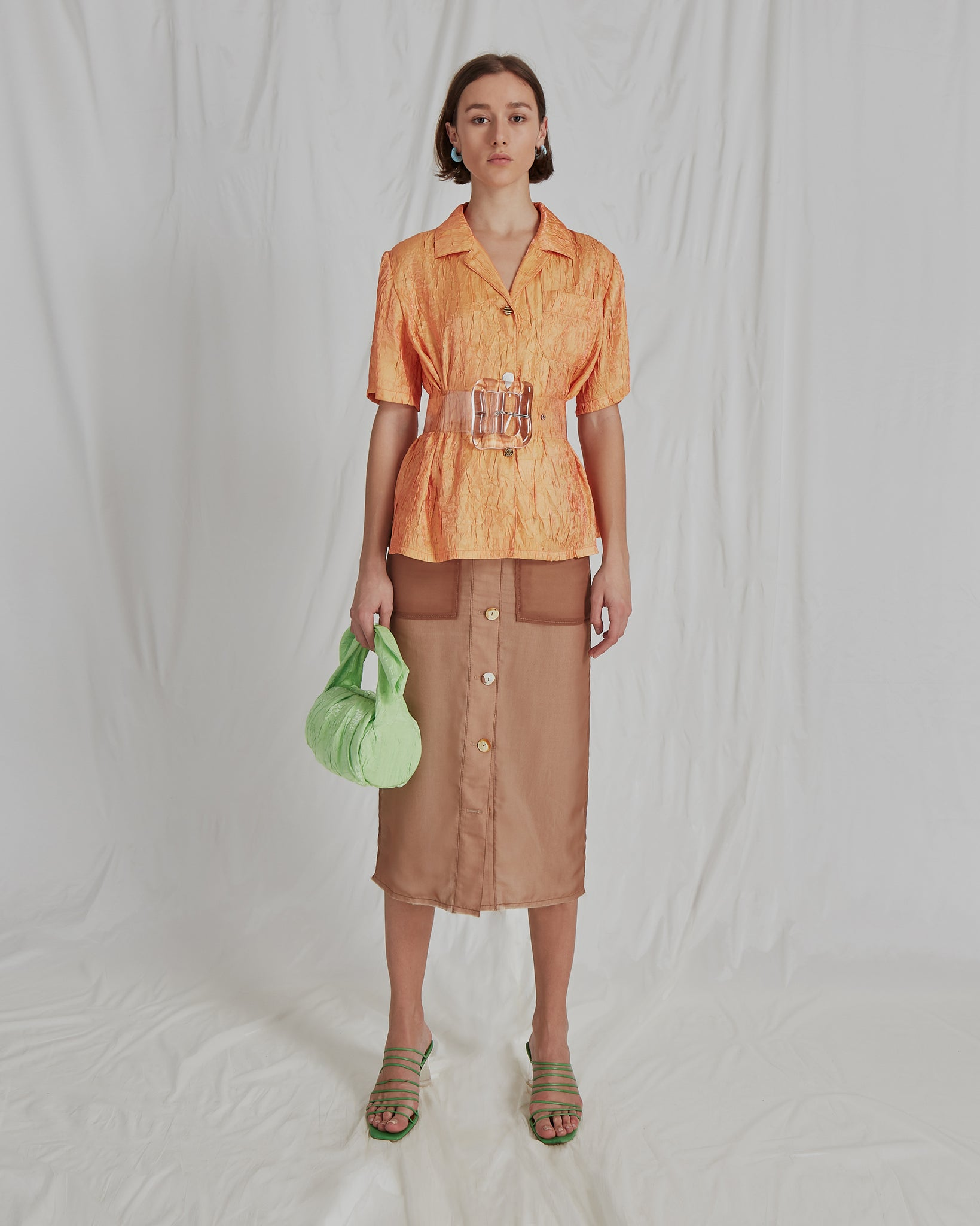 Lily Skirt Chiffon Taupe and Linen Ecru