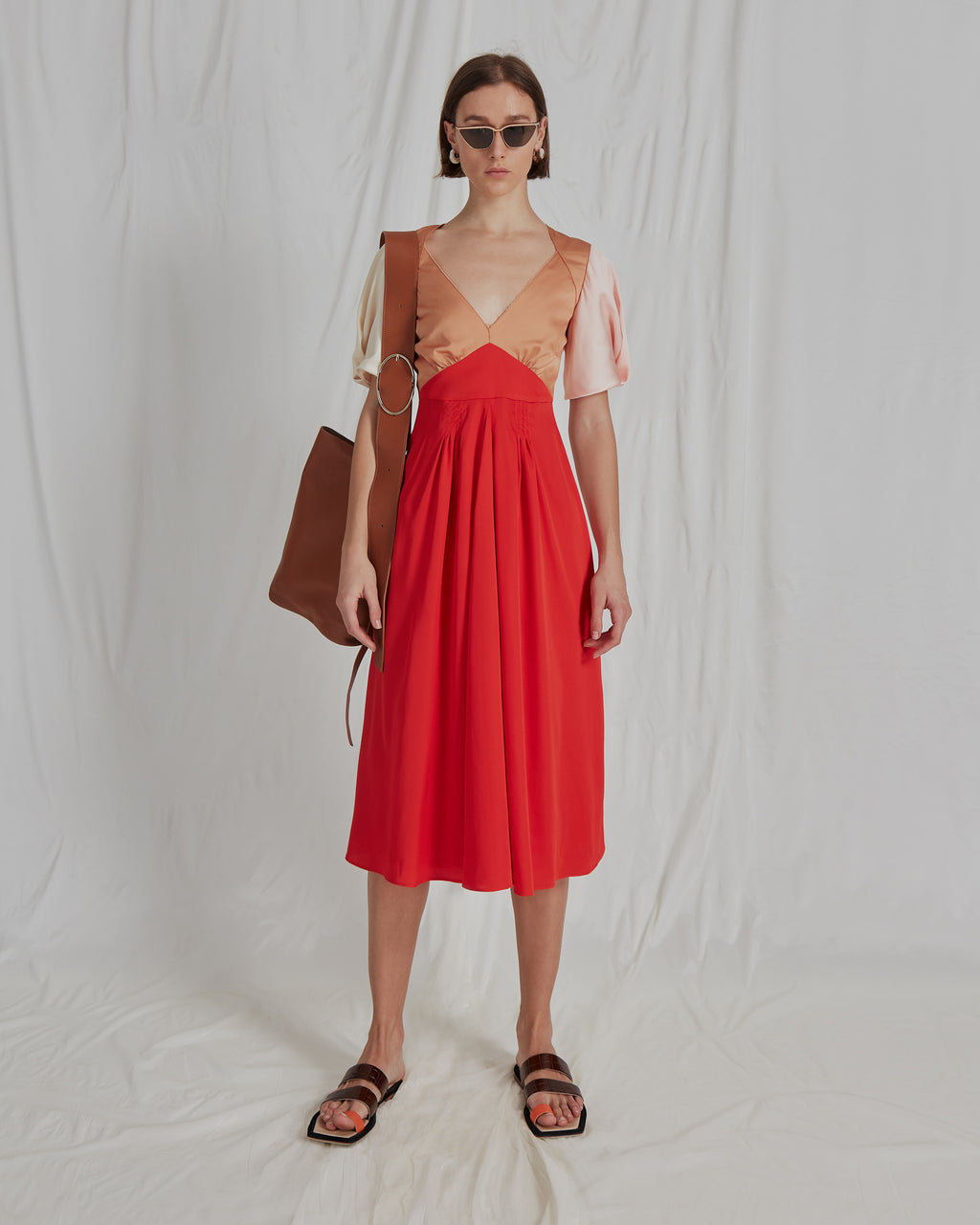 Harriet Dress Satin Red Ivory Blush