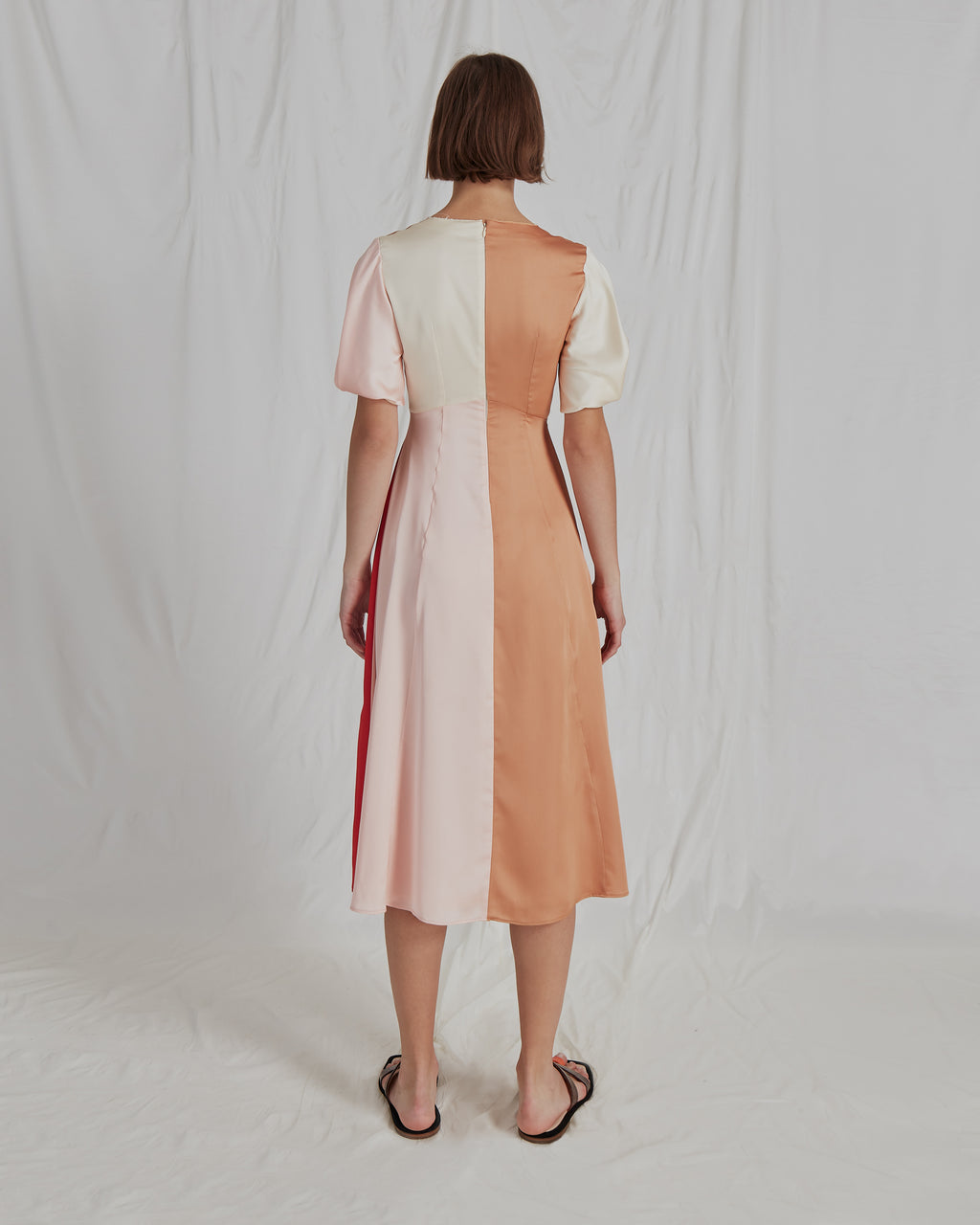 Harriet Dress Satin Red and Ivory Blush