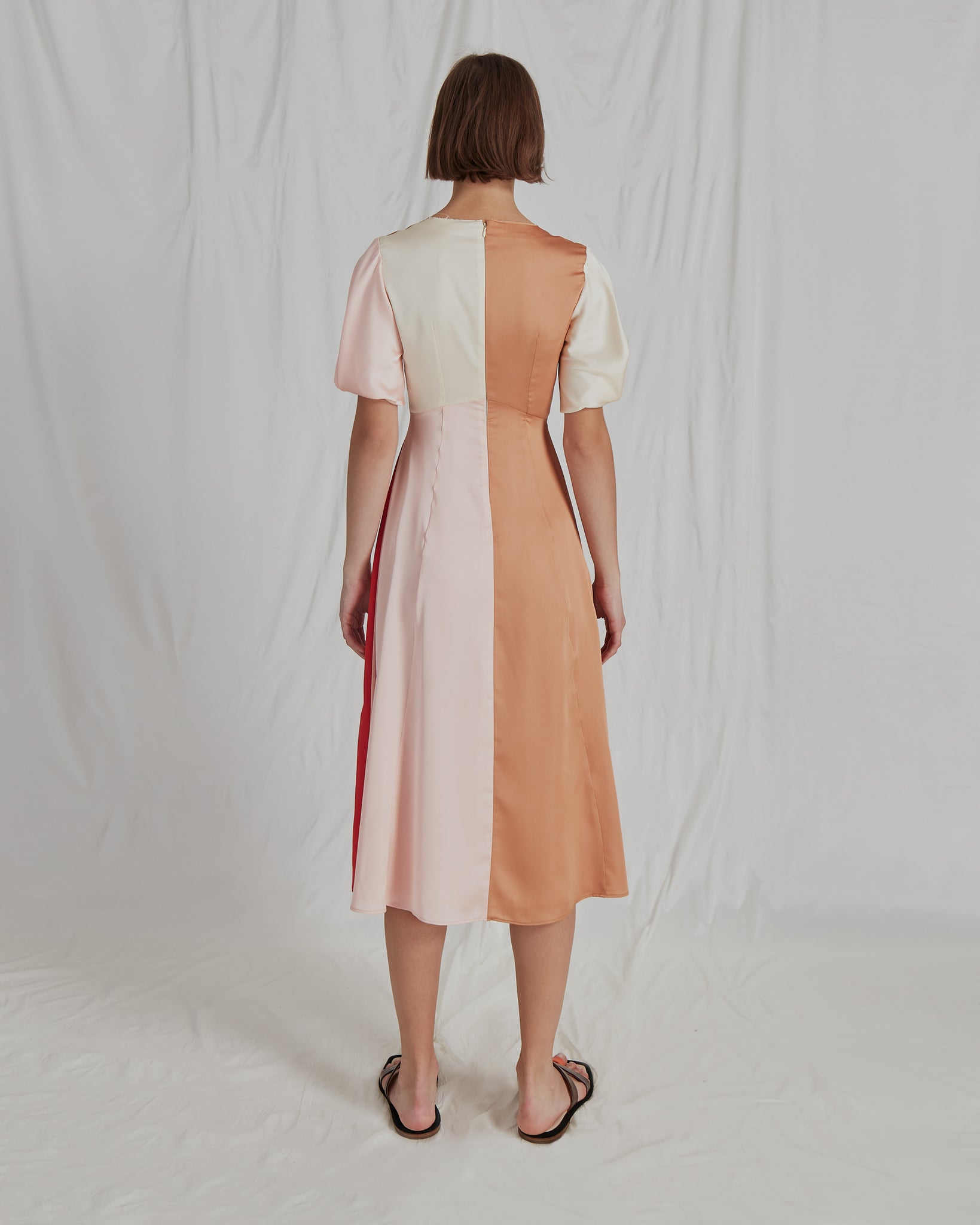 Harriet Dress Satin Red and Ivory Blush - SPECIAL PRICE