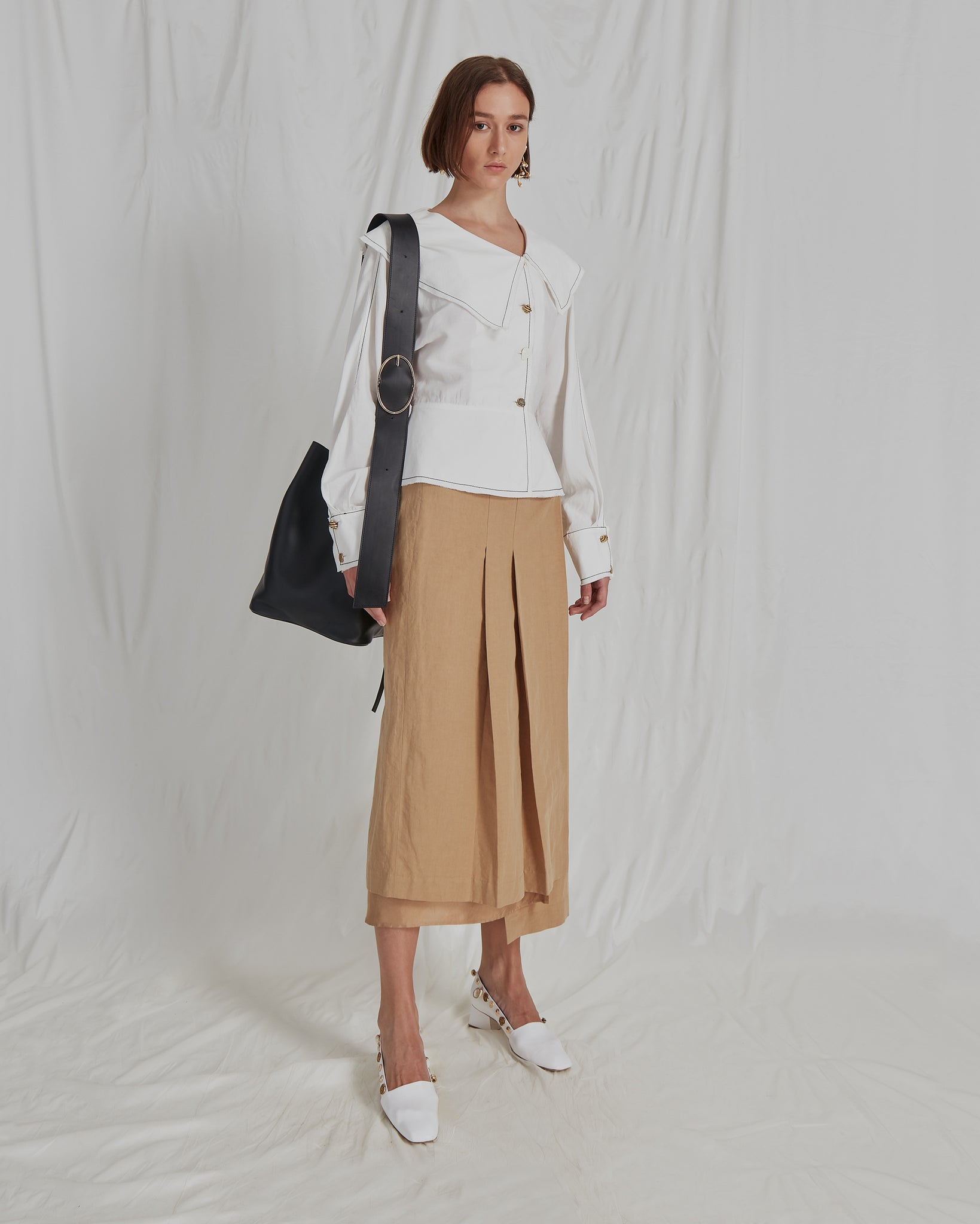 Laurie Skirt Cotton Linen Silk Taupe