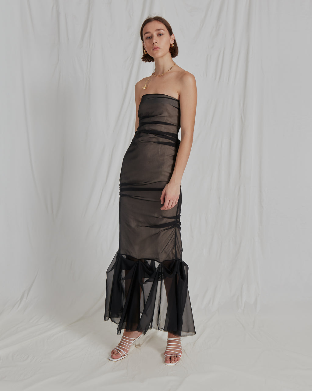 Heather Dress Chiffon Black and Linen Ecru
