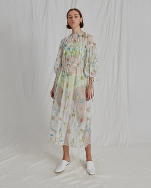 Tia Dress Organza Jacquard Floral