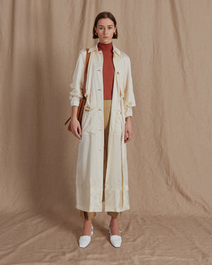 Wren Trench Silk Satin Ivory