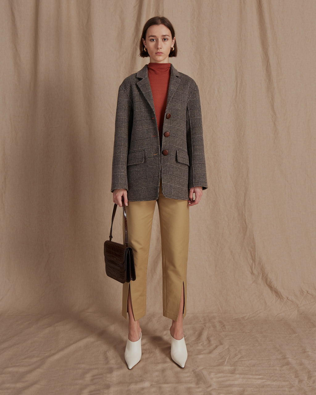 Maria Check Beige Wool Blazer - Exclusive