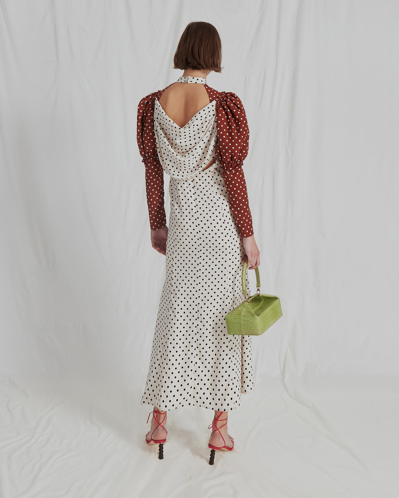 Sibylle Dress Crepe Polka Dot Chesnut and Ivory Mix
