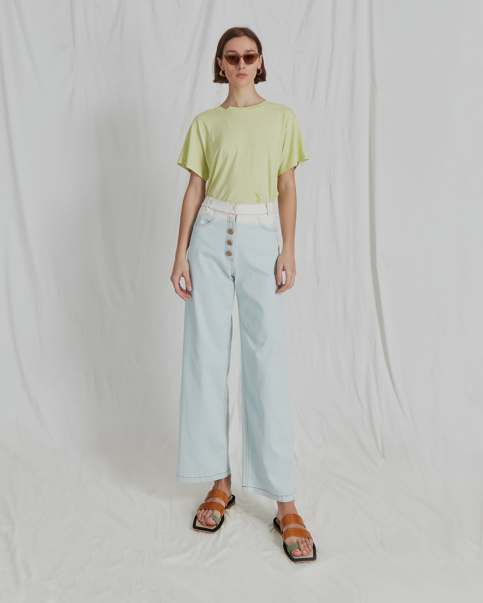 Valerie Jeans Cotton Denim Ombre Skyblue