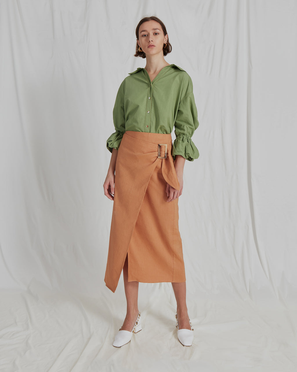 Amber Shirt Cotton Linen Green - SPECIAL PRICE