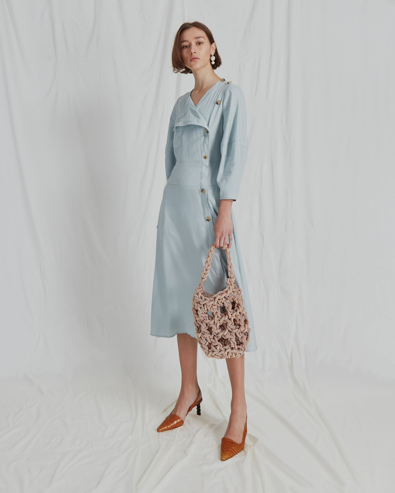 Michaela Dress Linen Sea Blue