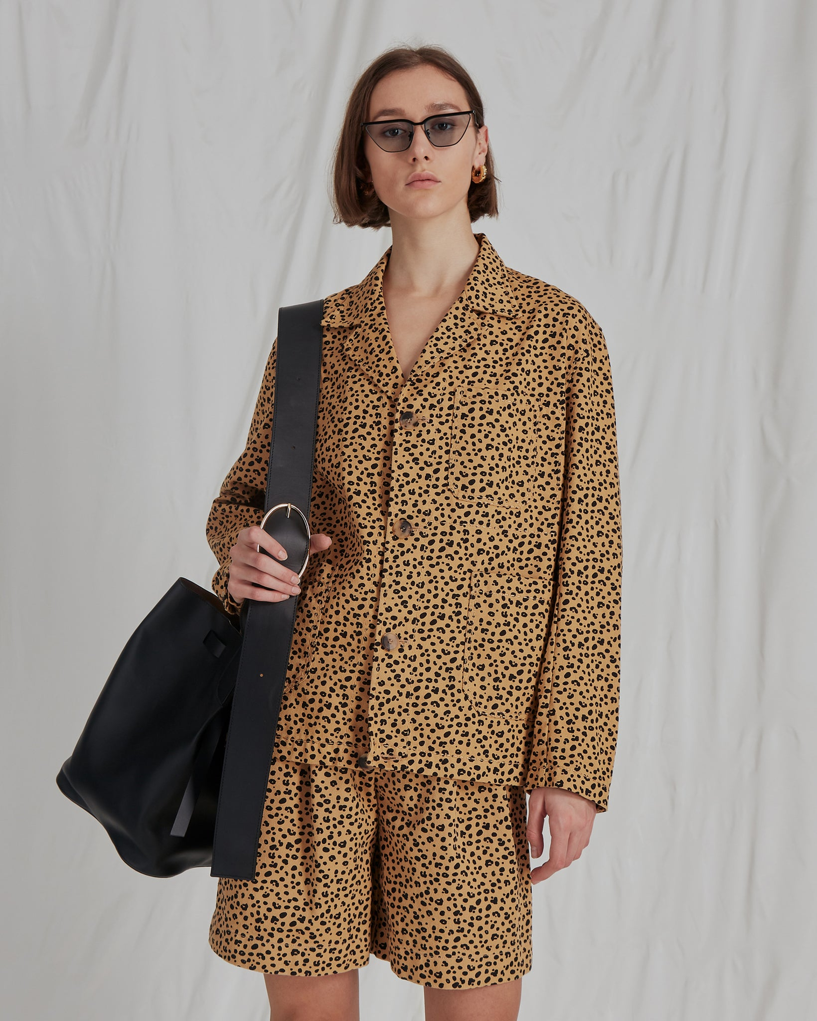 Billie Jacket Cotton Twill Leopard Print