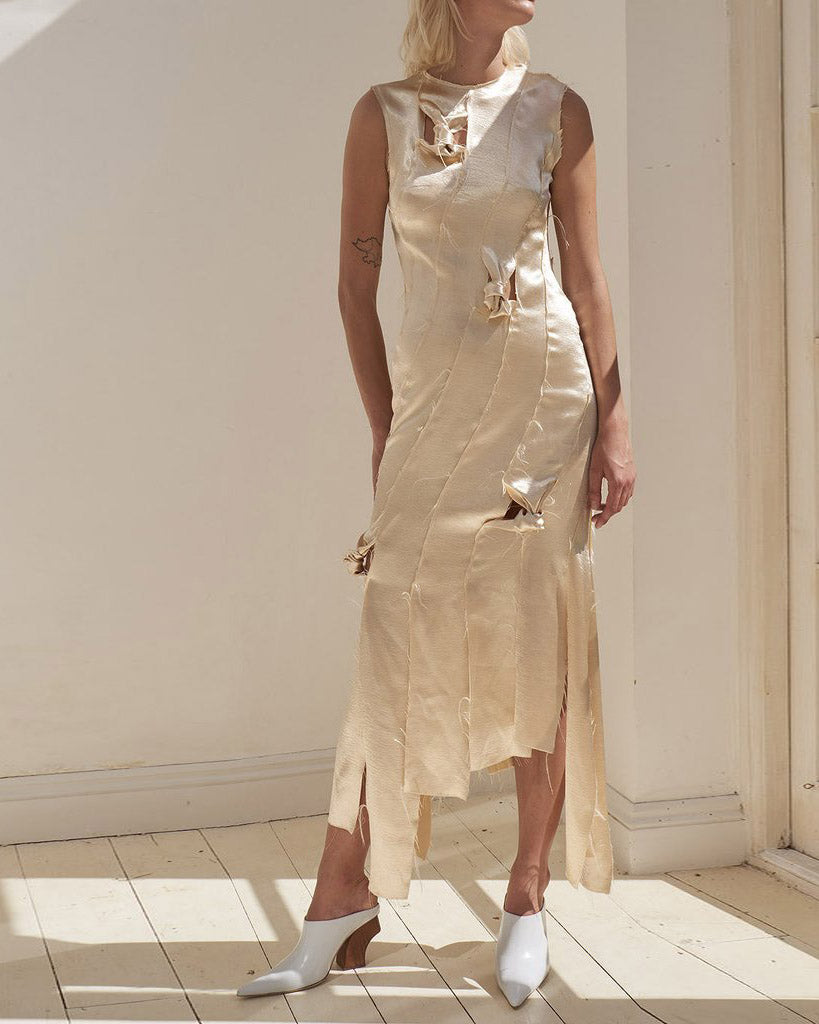Laura Strip Knotted Dress Crepe Satin Champagne - SPECIAL PRICE