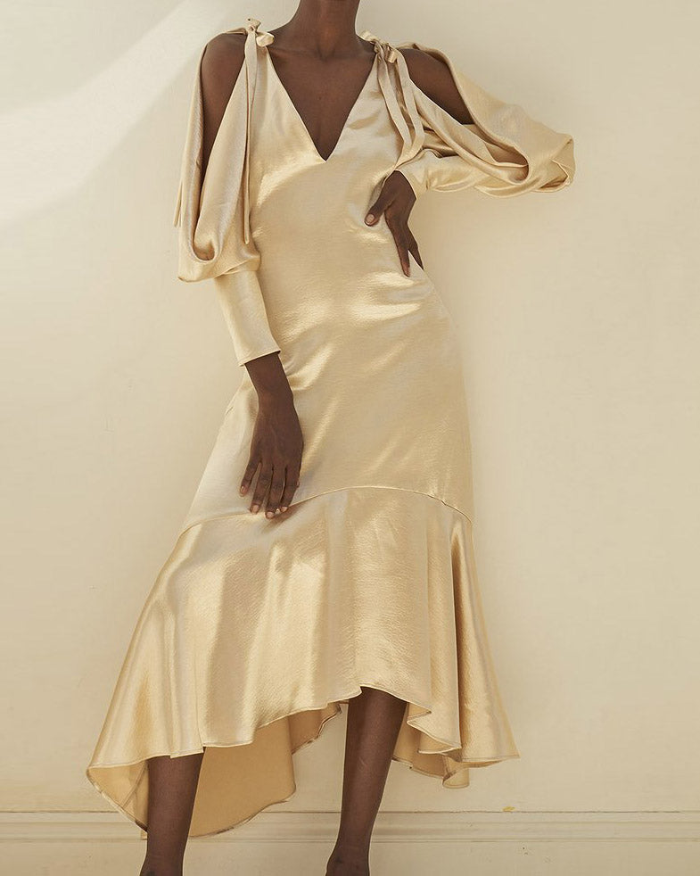 Camille Open Shoulder Dress Satin Champagne - SPECIAL PRICE