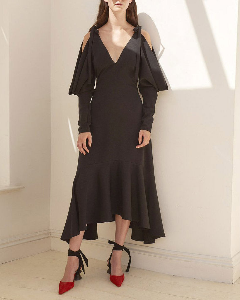 Camille Open Shoulder Dress Satin Black