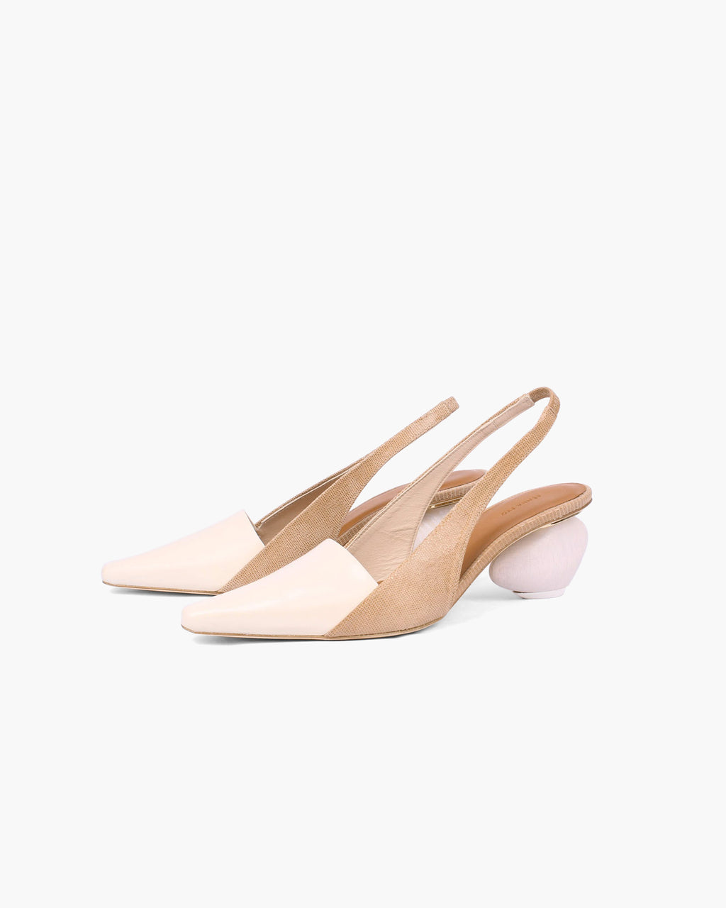 Taylor Slingbacks Leather Lizard Taupe + White Wood Heels