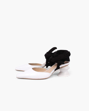 Barbara Heels Croc Leather White