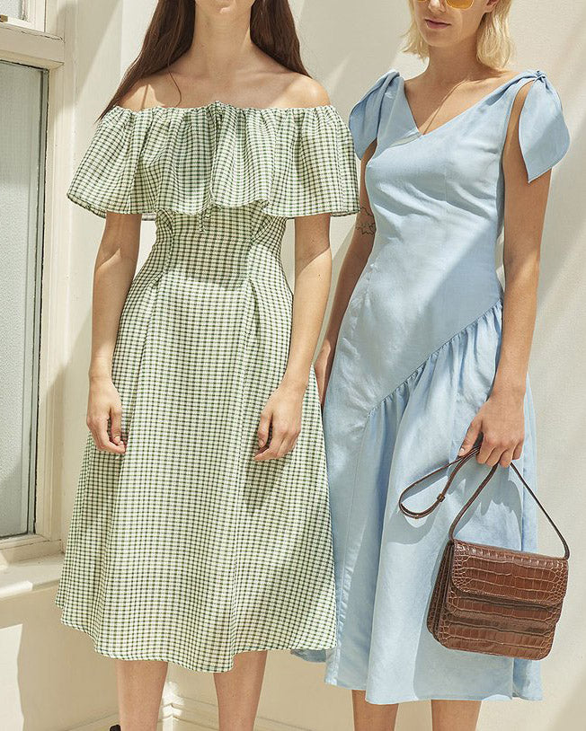 Olivia Off-Shoulder Dress Green & White Gingham