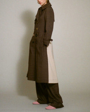 Kirsten Trench Coat Wool Check Brown and Ecru Cotton