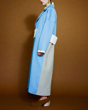 Kate Oversized Coat in Sky Blue/Oat Melton Wool with White Belt
