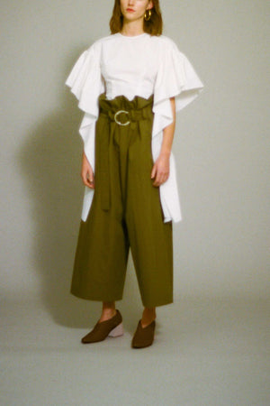 Tilly Wide Trousers with Belt Detail Cotton Khaki Check