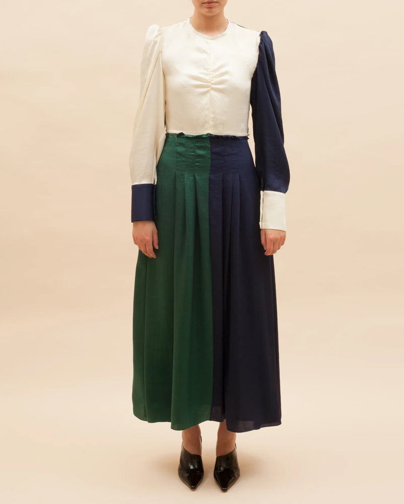 Steffy Dress Twill Navy, Green and White