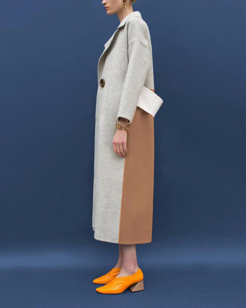 Kate Oversized Belted Coat Wool Grey and Camel - Exclusive