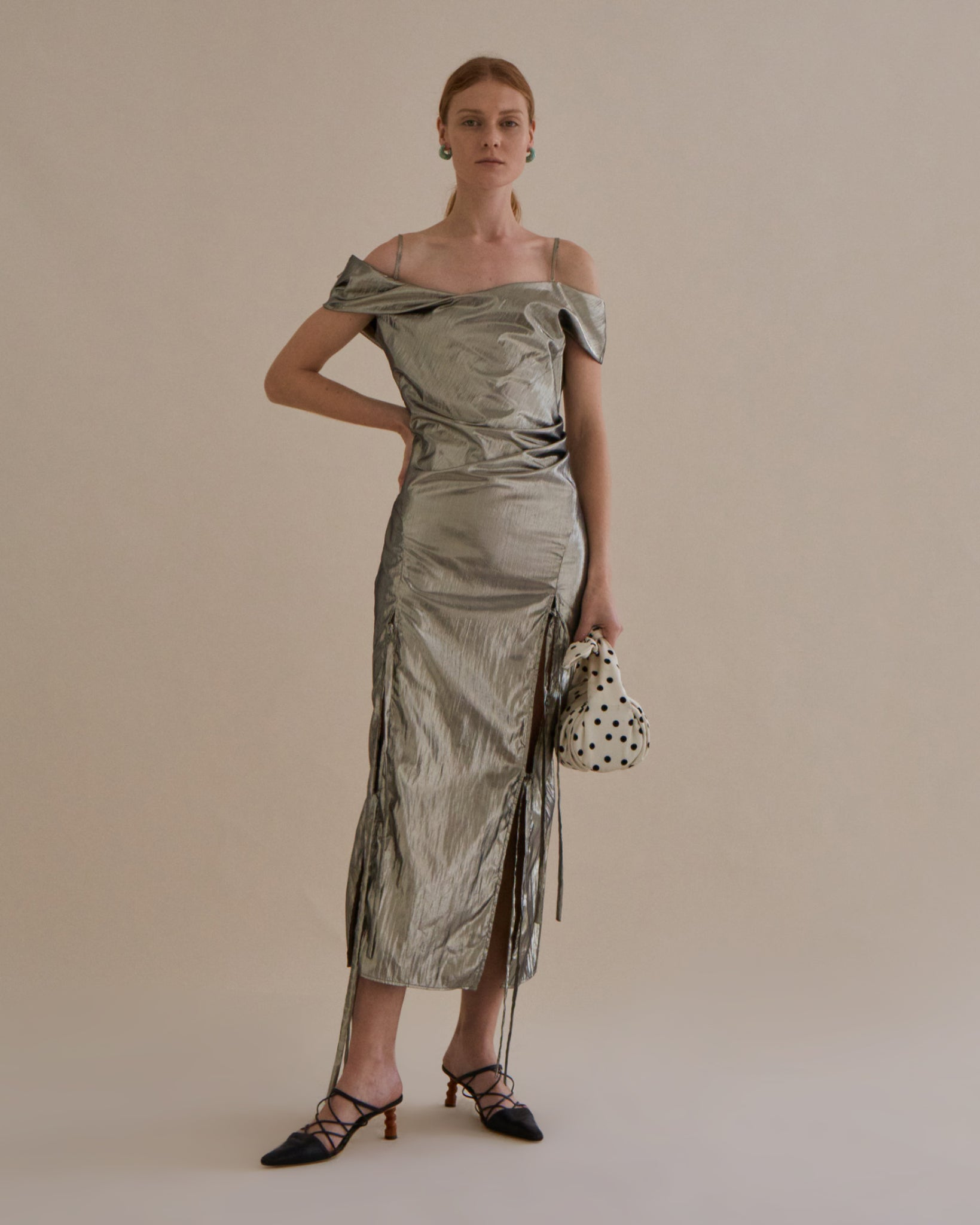 Adeline Dress Lamé Silver - SPECIAL PRICE