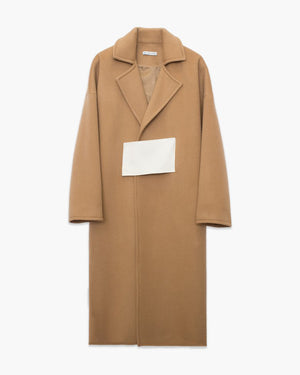 Kate Oversized Belted Coat Camel and Red