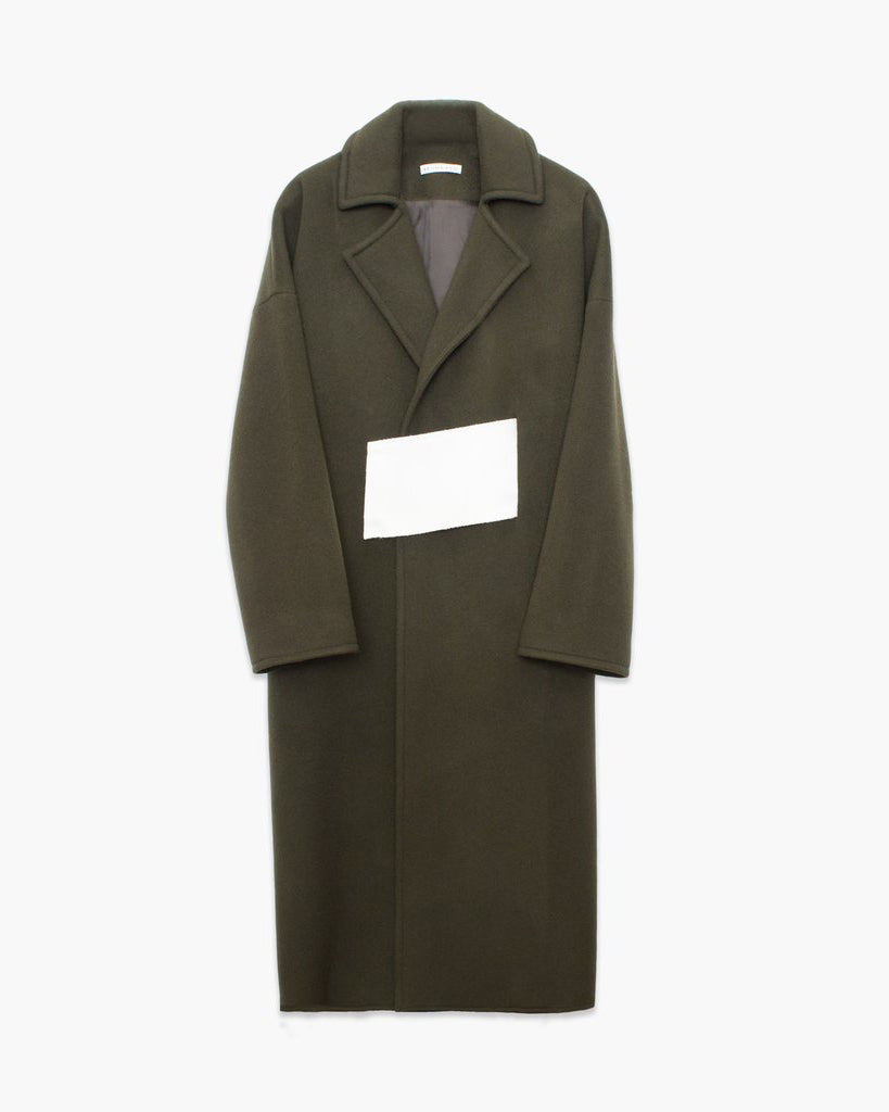 Kate Oversized Belted Coat Khaki and White