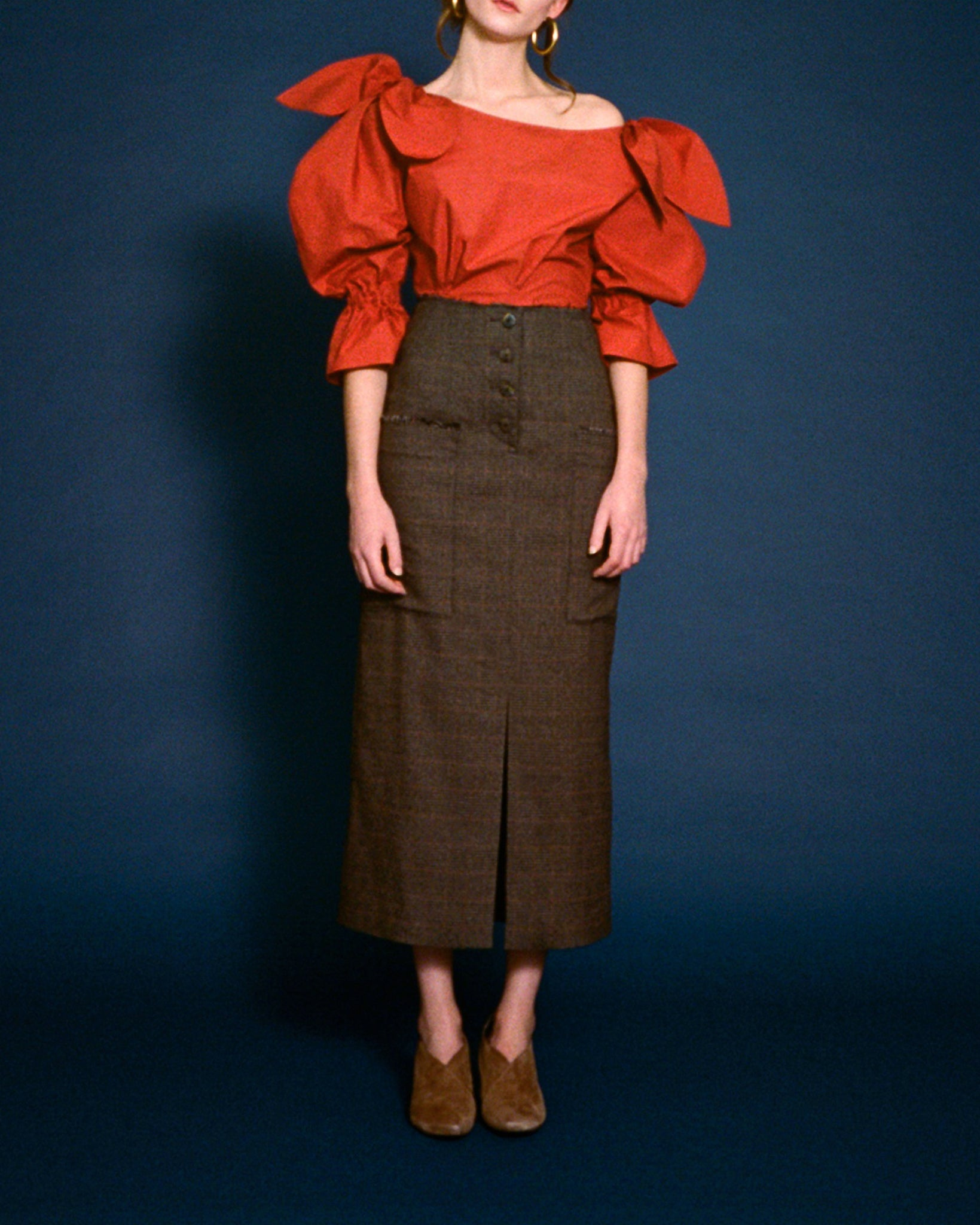 Carmen Skirt Brown Check Suiting - SPECIAL PRICE