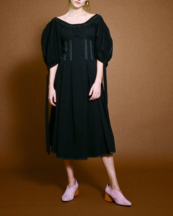 Greta Open-Neck Dress Cotton Poplin Black
