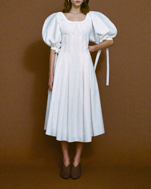 Greta Open-Neck Dress White