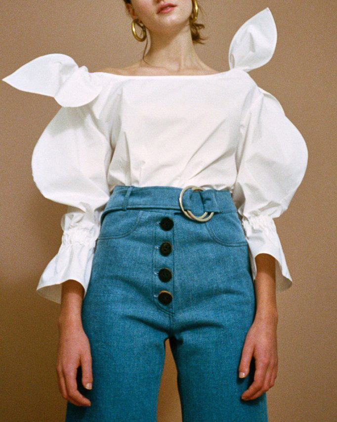 Michelle Off-White Cotton Poplin Blouse With Shoulder Tie Detail