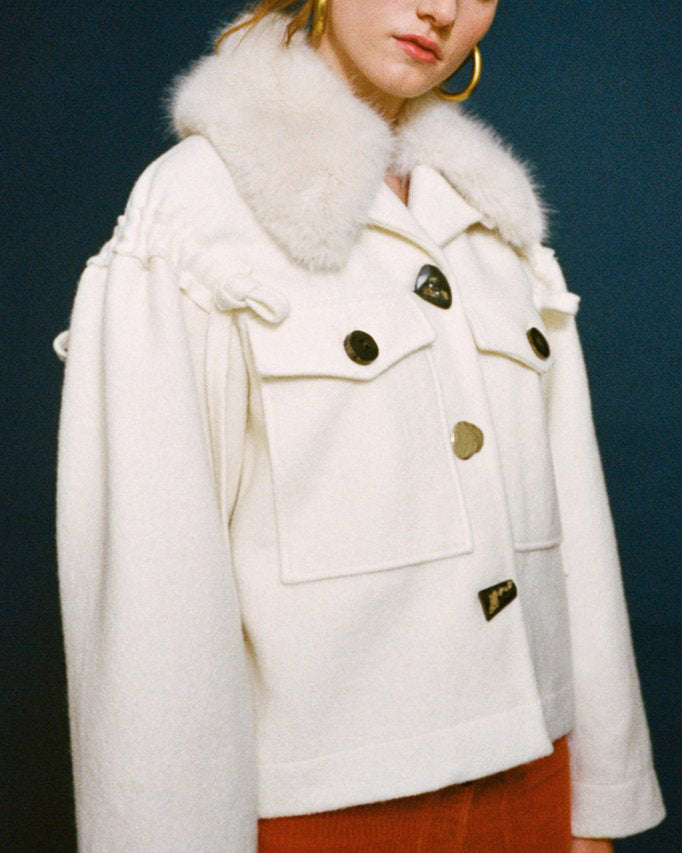 Daphne Drawstring Detail Jacket with Detachable Fur Collar Wool Ivory