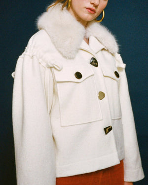 Daphne Jacket with Detachable Faux Fur Collar Wool Ivory
