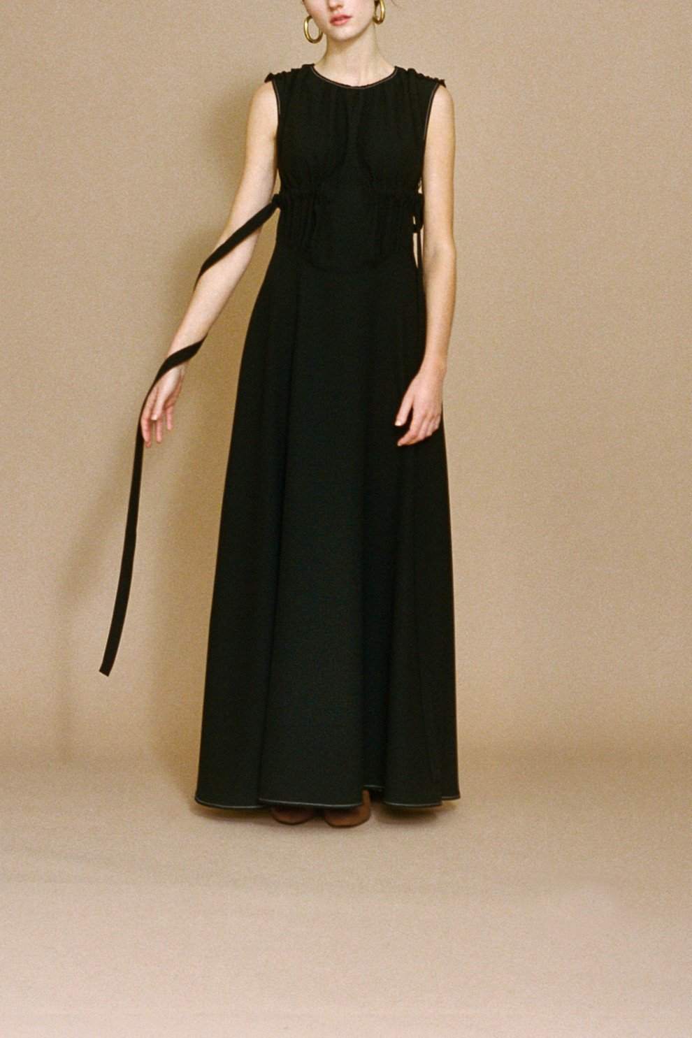 Lena Full-Length Dress Black Satin Crepe - SPECIAL PRICE