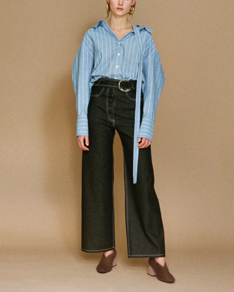 Rosa Open Neck Shirt with Strap Cotton Blue Stripe