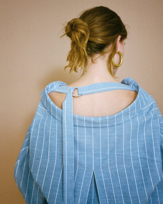 Rosa Shirt Cotton Blue Stripe with Strap Ring