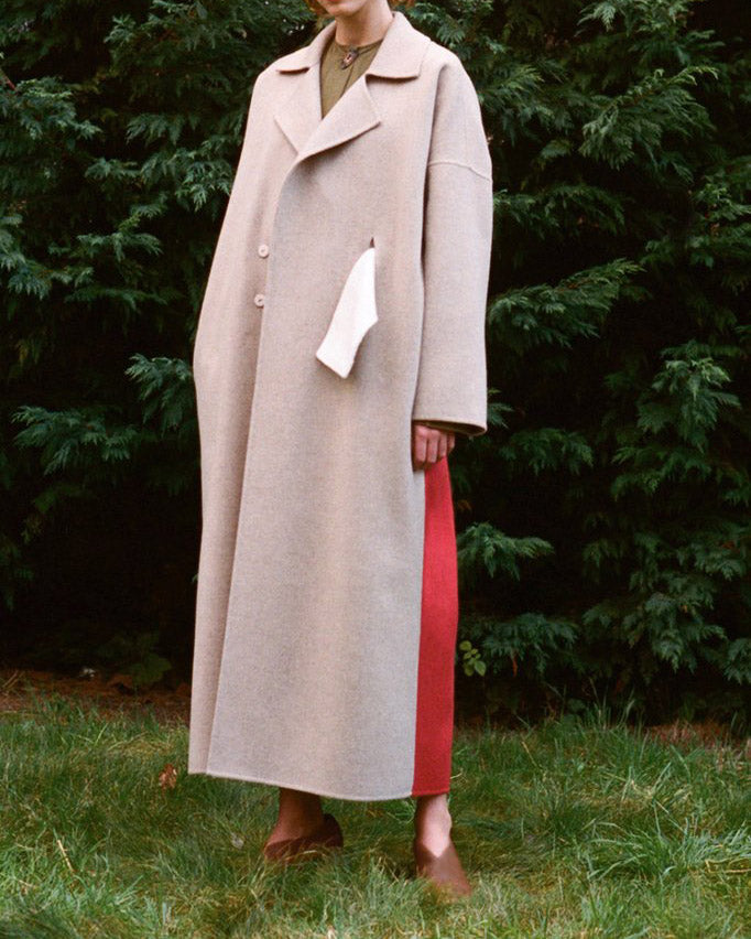 Kate Oversized Coat with White Belt Wool Oat