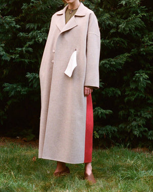 Kate Oversized Coat in Oat/Brick Melton Wool with White Belt