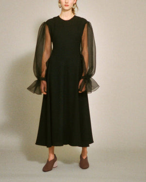 Harriet Dress Black Crepe and Organza - SPECIAL PRICE