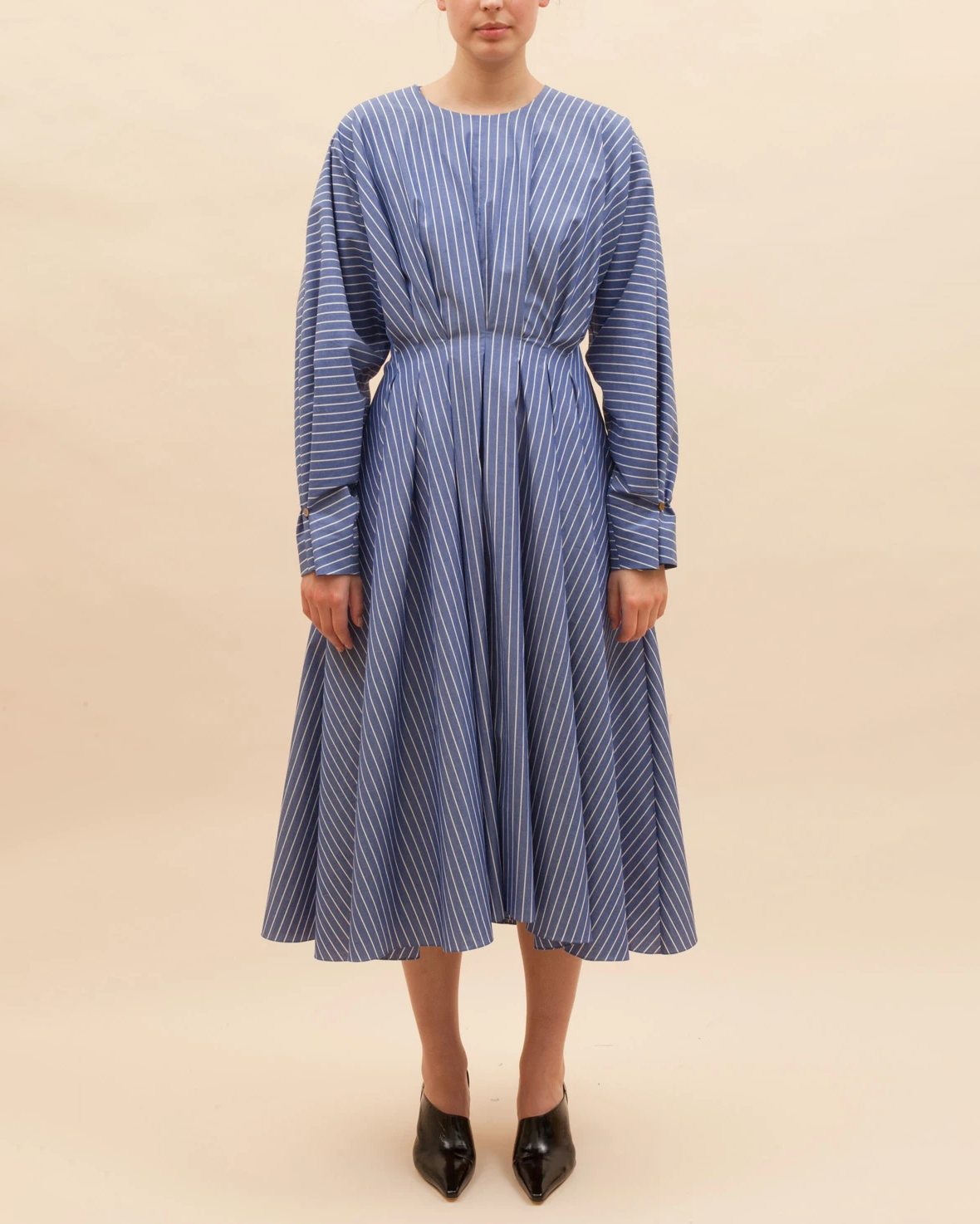 Alice Dress Cotton Stripe Dark Blue