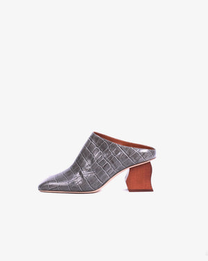 Andi Mules Leather Emboss Charcoal