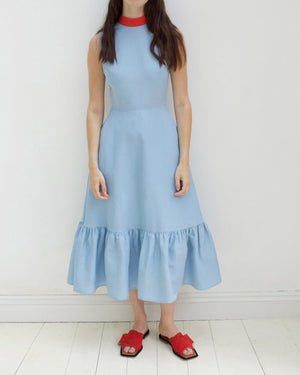 Bridget Dress Linen Blue