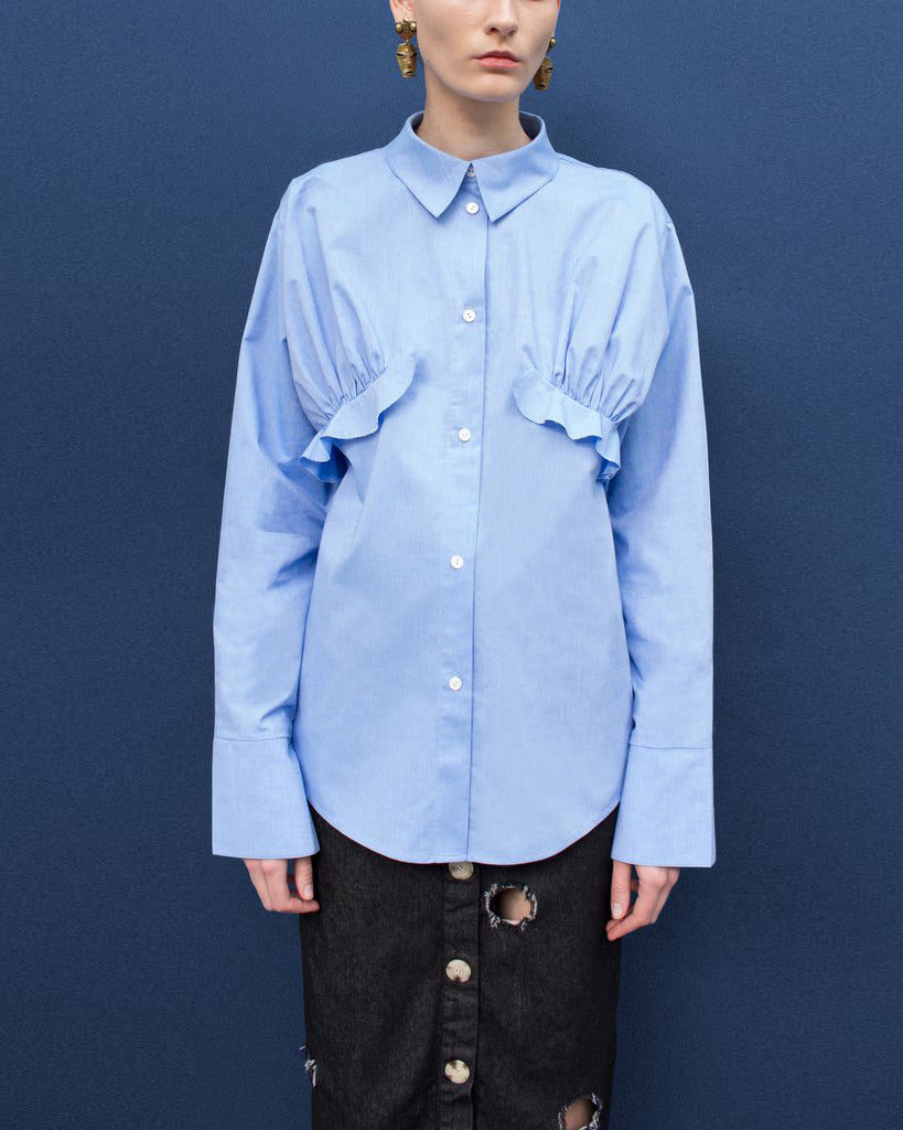 Annie Chambray Blue Ruffle Shirt