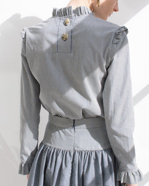 Noelle Ruffle Collar Blouse Cotton Stripe - SPECIAL PRICE