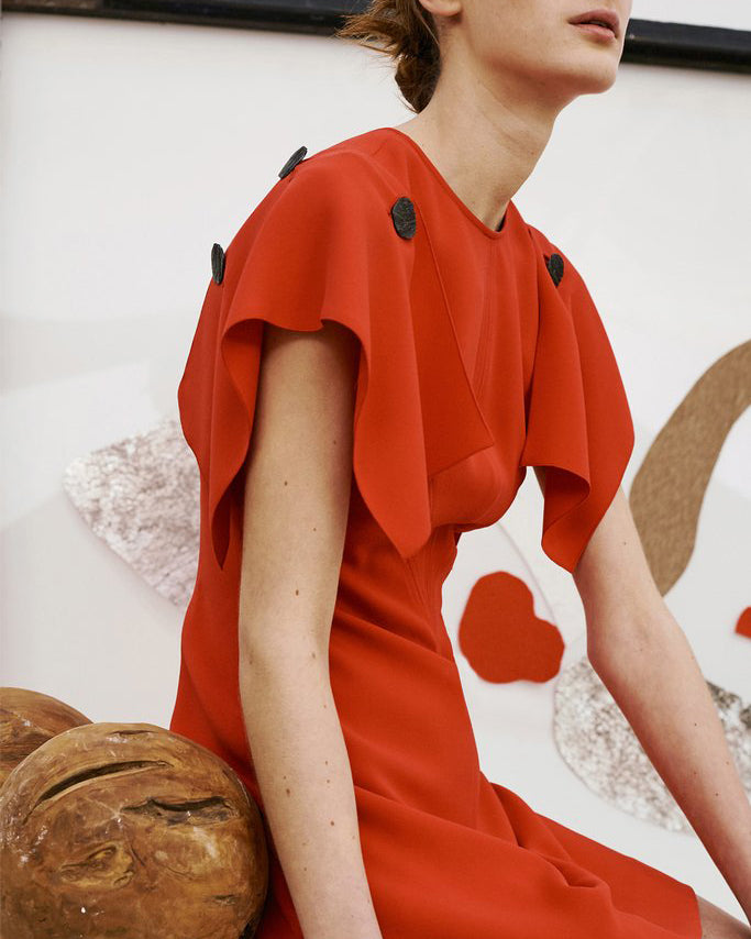 Carly Sleeved Button Dress Red