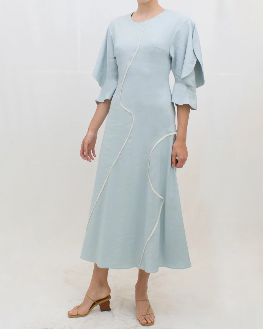 Celia Dress Linen Blend Blue