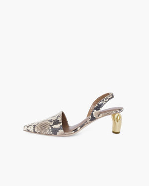 Conie Slingback Heel Leather Snake Beige