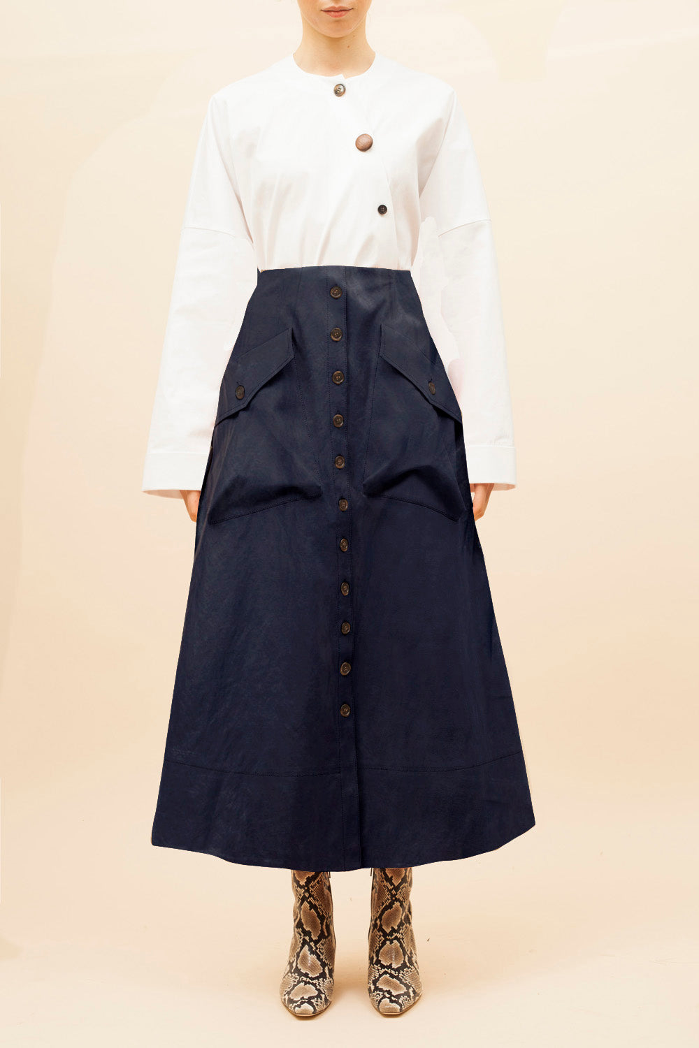 Joanna Skirt Faux Leather Dark Navy - SPECIAL PRICE