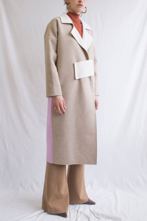 Kate Oversized Coat Wool Oat + Ivory + Lavender